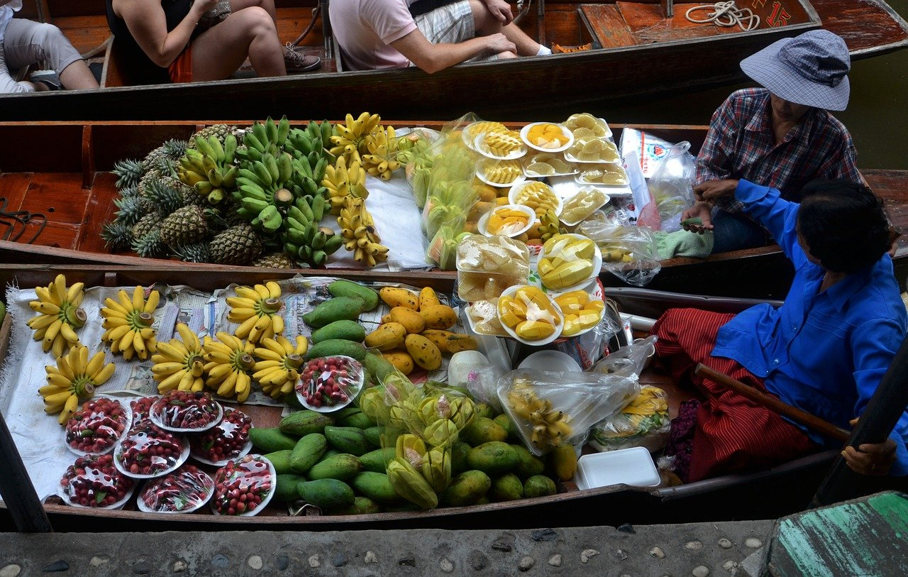 fruits, boats, cooking